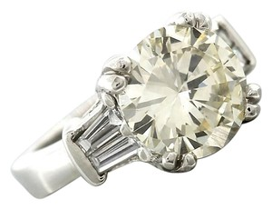 Exquisite Ladies 4.02ct Round Brilliant Diamond Baguette Engagement Ring EGL