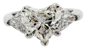 GIA Platinum 4.41ctw Heart & Trillion Cut Diamond Wedding Engagement Ring