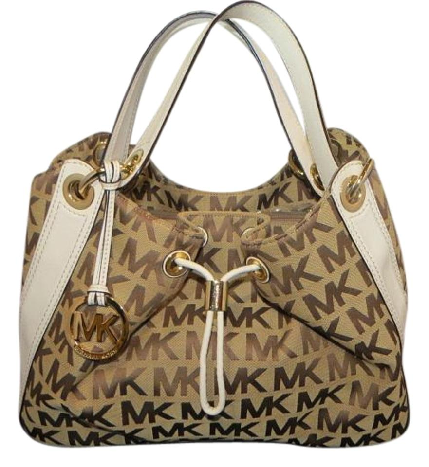5dc822b1336b3a Michael Kors Ludlow Large Beige/Brown/White Signature Shoulder ...