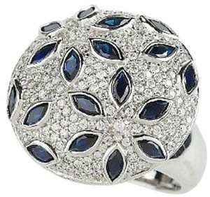 Diamonique Diamonique Sterling Silver 2.50ct Simulated Sapphire Floral Design Bold Round Ring - Size 7