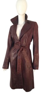 Theory Leather Trench Belted BROWN Leather Jacket