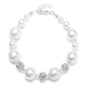 Set Of 4 Swarovski Crystal & Pearls Bridesmaids Bridal Bracelet