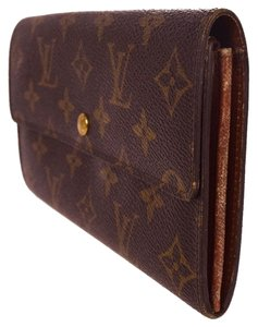 Louis Vuitton Auth LOUIS VUITTON Credit Long Bifold Wallet Purse Monogram Brown M61724 sarah