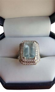 Michael Christoff Beautiful and Large 18K White Gold, Aquamarine and Diamond Ring