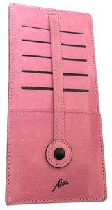 Abas PINK LEATHER ABAS BILLFOLD w/BLACK SNAPS