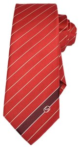 Gucci NEW Gucci Men's 408866 Flame Red Woven Silk Interlocking GG Striped Neck Tie