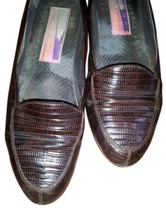"Susan Bennis/Warren Edwards Vintage Genuine Lizard 1/2"" Heel Brown Flats"