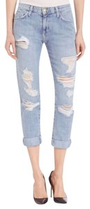 Current/Elliott Cropped Relaxed Fit Jeans-Distressed