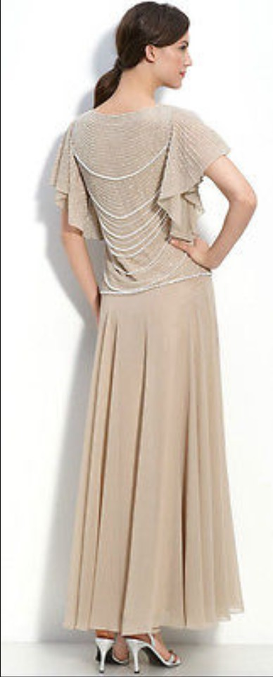JKara Champagne Strands Of Faux Pearls Beaded Long Formal Dress Size ...