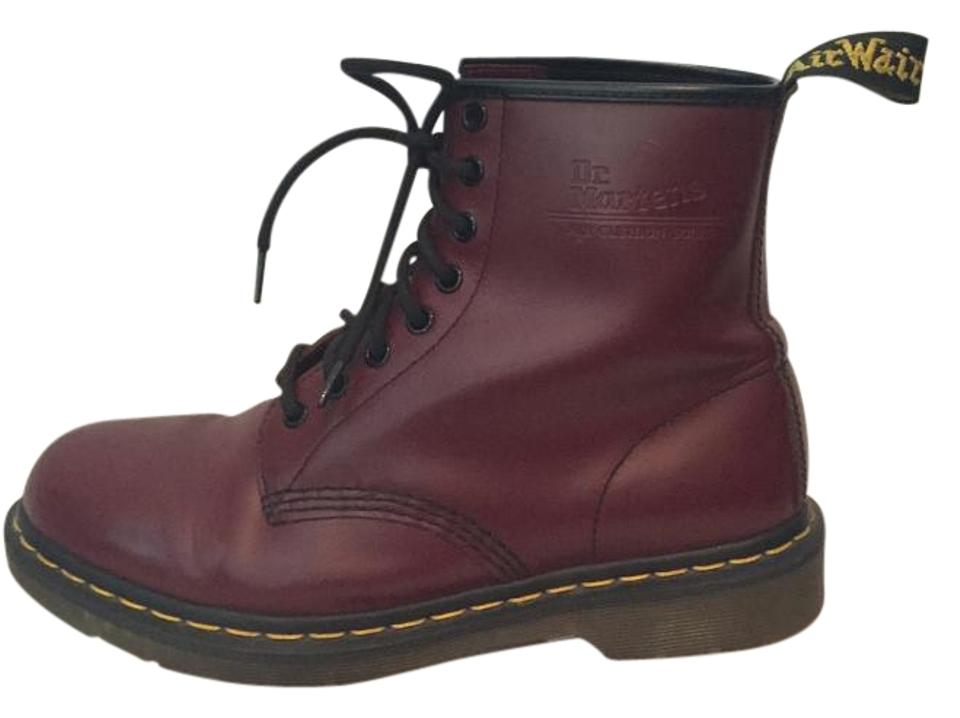dbd0acd59 Dr. Martens Leather Air-cushioned Sole Oil Resistant Fat Resistant Slip  Resistance Cherry Red ...