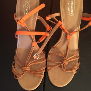 Coach Neon Orange and Tan Sandals