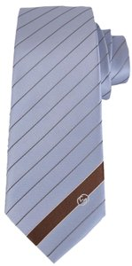 Gucci NEW Gucci Men's 408866 Sky Blue Malo Woven Silk Interlocking GG Striped Neck Tie