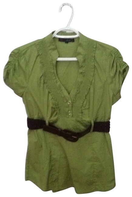 Preload https://img-static.tradesy.com/item/169381/heartsoul-green-with-brown-belt-blouse-size-16-xl-plus-0x-0-0-650-650.jpg