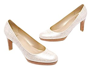Stuart Weitzman Natural Linen Metallic Bone Pumps