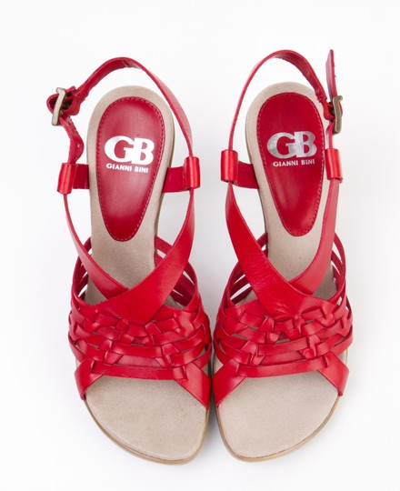 Gianni Bini Weave Strappy Flame Red Sandals