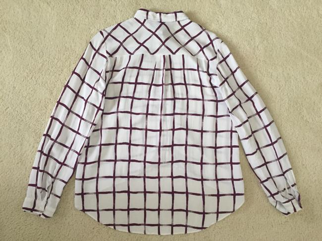 Topshop Button Down Shirt White/Burgundy Red Image 1