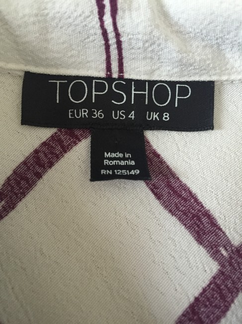 Topshop Button Down Shirt White/Burgundy Red Image 2