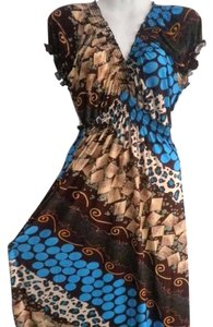 Brown & Blue Maxi Dress by Other Summer Maxi Hand Made Maxi Summer Boho