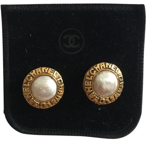 Chanel Authentic CHANEL Vintage Chanel engraved with Imitation Pearl Earrings