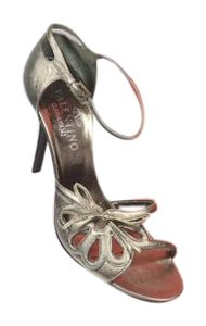 Valentino Metallic Stiletto Box Bag Pewter Metallic Pewter Sandals