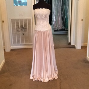 Andrew Adela Ivory/Sandstone Satin Formal Bridesmaid/Mob Dress Size 10 (M)
