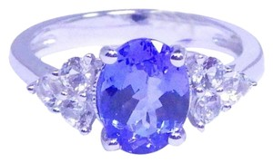 TANZANITE GORGEOUS OVAL SHAPE TANZANITE RING WHITE TOPAZ STONES IN THREE-STONE SETTING STERLING SILVER