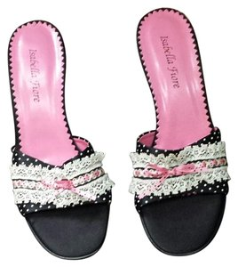 Isabella Fiore Made In Italy Pink& Embellished Sandals Black and pink Mules