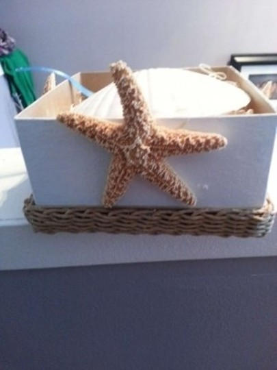 Mandarin & General White Nautical / Beach Themed Ring Bearer Box