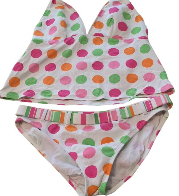 Item - White/Orange/Pink/Lime Polka Dot Halter Tankini Size 12 (L)