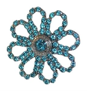 Coach COACH Blue Crystal Large Flower Cocktail Ring 6