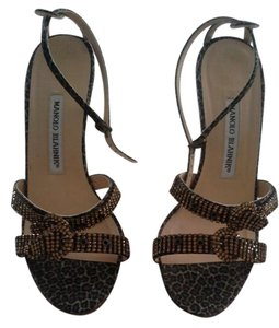 Manolo Blahnik Leopard and Bronze crystals Formal