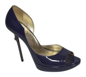 Roger Vivier Leather Stiletto Blue/ Grey Patent Platforms