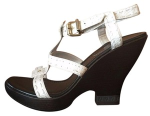 Fendi Selleria Wedge / Platform Made In Italy Leather White Sandals