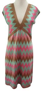 MILLY Aqua Green Pink Gold Silver Knitted Dress