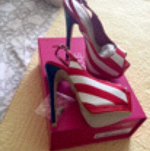 ShoeDazzle Red white & blue Platforms