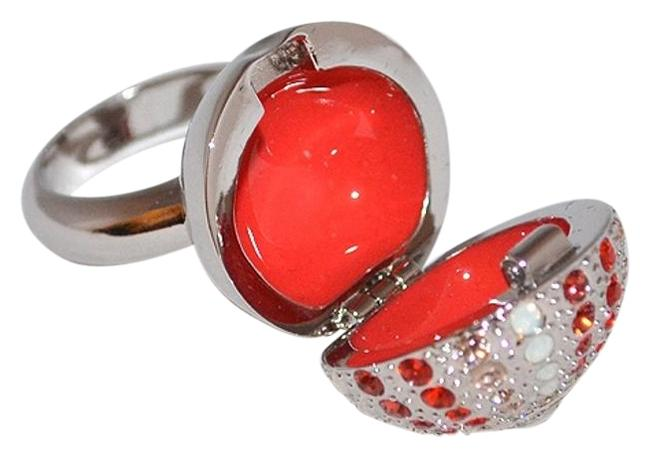 Item - Peach / Coral L Crystal 1040896 Look Cocktail Pillbox 58 8 Ring