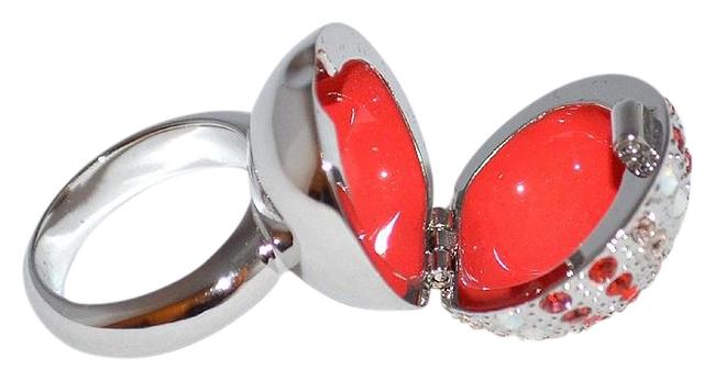 Item - Peach / Coral Crystal 1040894 Look Cocktail Pillbox 52 S 6 Ring