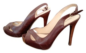 Guess Leather Stiletto Heel Brown Platforms