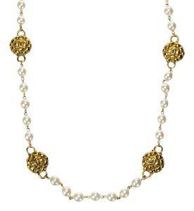 Chanel Chanel Vintage Gold CC Faux Pearl Necklace