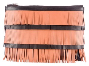 Proenza Schouler New Leather Fringe Silver Hardware Black and tan Clutch
