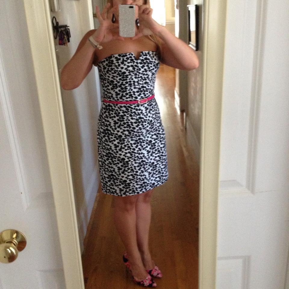 Max and Cleo Black & White Print Knee Length Cocktail Dress Size 6 ...