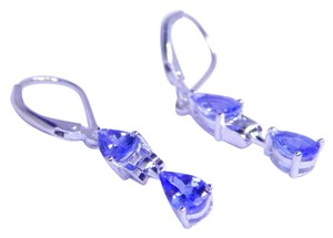 ENTICING PEAR SHAPE TANZANITE EARRING IN THREE-PRONG LEVERBACK DANGLE EARRING SETTING STERLING SILVER