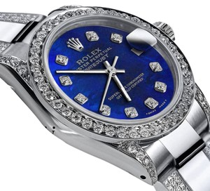Rolex Women's 31mm s/s Oyster Perpetual Datejust Custom Diamonds Dial Blue