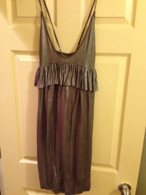 Stella McCartney Vintage Summer Cocktail Adjustable Flowy Linen Viscose Silver Gold Classic Dress