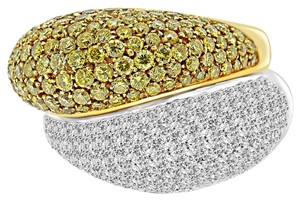 Avi and Co 5.35 cttw Round Cut White & Fancy Yellow Diamond Dome Ring 18K Two Tone Gold
