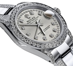 Rolex Women's 26mm S/S Oyster Perpetual Datejust Custom Diamonds Dial Silver