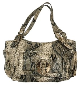Anne Klein Snakeskin Satchel in Black, grey, and white