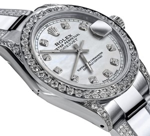 Rolex Women's 31mm s/s Oyster Perpetual Datejust Tone White Diamonds Dial