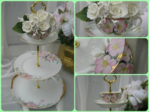 Noritake Azalea Hand Painted Tiered Cake Stand 3 Tiered Cake Stand Or 3 Tier Cake Stand With A Cup On The Top Wedding 3