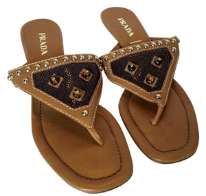 Prada Jeweled Tan and purple Sandals